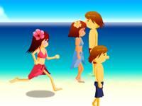 Beach flirting girl